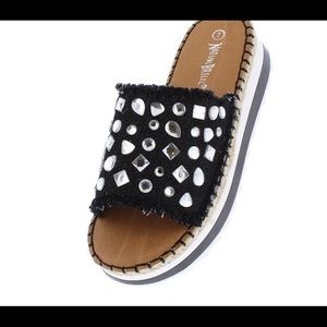 Nature Breeze Shoes - Black Frayed Denim Rhinestone Mule Sandal
